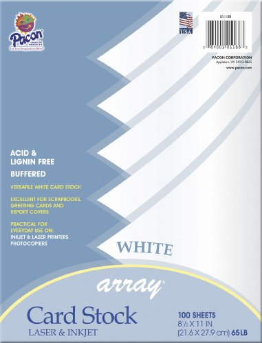 Pacon Card Stock, 8 1/2-inches by 11-inches, White, 100 Sheets (101188)  - 11