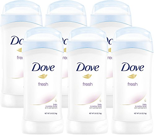 Dove Invisible Solids, Antiperspirant Deodorant, 2.6 Ounce Stick (Pack of 6)