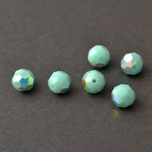 Swarovski Mint - 24 pcs 8mm Swarovski Crystal Round Beads 5000, Mint Alabaster AB, SW-5000