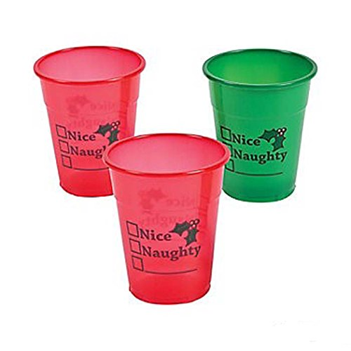 FX Naughty or Nice Red Green Plastic Cups (50 cups)