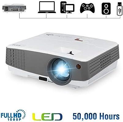 Portable Mini Projector 2600 Lumens HDMI LED LCD Small Video Projectors Support 720P Full HD 1080P Wuxga Home Theater Multimedia Outdoor Movie ...