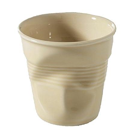 REVOL RV640647 Tasse espresso froissé porcelaine, vanille, 6.5 x 6.5 x 6 cm
