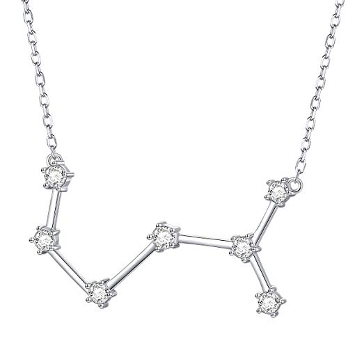 (Constellation Necklace 925 Sterling Silver CZ Horoscope Zodiac Constellation Pendant Necklace for Women,18