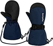 HIGHCAMP Kids Ski Mittens Waterproof Winter Snow Gloves with Strings & Strap on Long Cuff for Toddler Boys