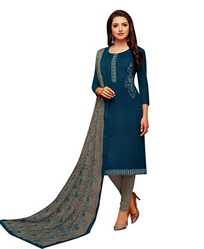 (Ladyline Cotton Embroidered Salwar Kameez with Designer Embroidery Dupatta (Size_54/ Peacock))