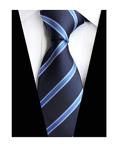 Mens Navy Light Blue Geometric Striped Tie Trendy Patterned Fashion Suit Necktie ()