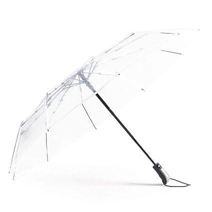 Paraguas Transparente - Paraguas Plegable automático para Hombres y Mujeres