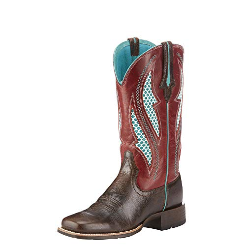 Red Rooster Chips - Ariat Women's Venttek Ultra Western Boot, Chocolate Chip/Rooster Red, 9 B US