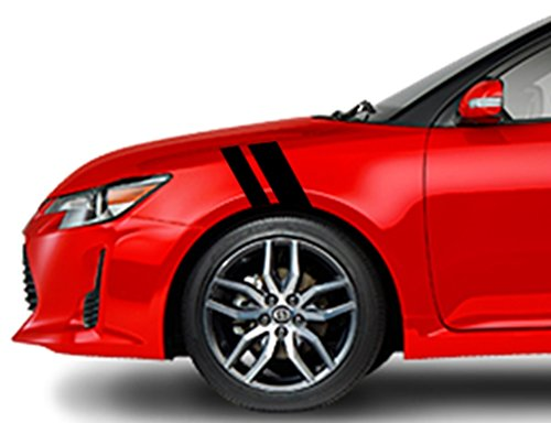 Clausen's World 2 and 3 Inch Fender Racing Stripes Carbon Fiber Vinyl Decal, Fits Scion TC and FR-S, Both Sides, Black ()