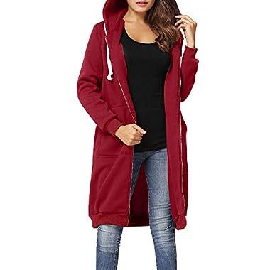 Romacci Women Zip up Hoodies Casual Pockets Tunic Sweatshirt Long Hoodie Outerwear Jacket Black/Grey/Army Green,S-5XL