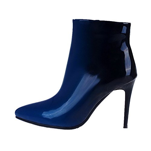 Amoonyfashion Womens Geassorteerde Kleur Ronde Neus Frosted Nubuck Leer Enkellaarsjes Blauw