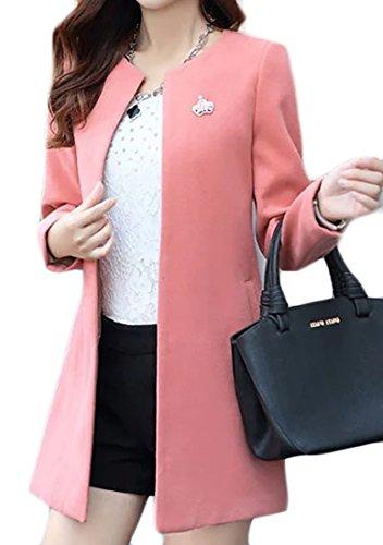 Cromoncent Women's Stylish Outwear Long Wool Blend Peacoat Jacket Overcoat Pink Small