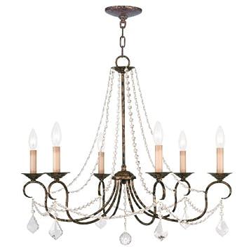 Livex Lighting 6516-71 Pennington 6 Light Chandelier, Hand Applied Venetian Golden Bronze