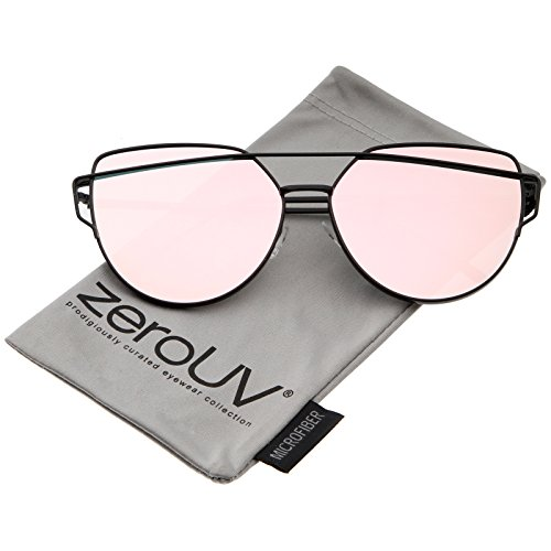 zeroUV - Oversize Metal Frame Thin Temple Color Mirror Flat Lens Aviator Sunglasses 62mm (Black / Pink - Sunglasses Thin Black