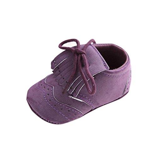 Tefamore zapatos primeros pasos bebes de antideslizante de sole suave de moda invierno de calentar Piel de encaje Morado