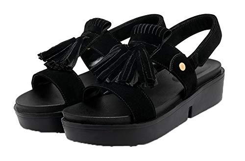 Velcro Talon AalarDom Unie Noir Correct Couleur Femme Sandales à Dépolissement wYCUfIq