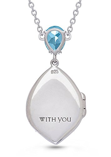 With You Lockets-Sterling Silver-Topaz-Tear Drop-Custom Photo Locket Necklace-The Sadie by With You Lockets (Image #2)