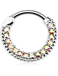 16g 10mm Rounded Top Pave Lined CZ Crystal Clicker Hoop for Septum and Cartilage Piercings