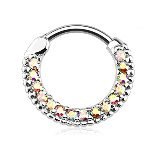 - 16g 10mm Rounded Top Pave Aurora Borealis CZ Clicker Hoop for Septum & Cartilage Piercings