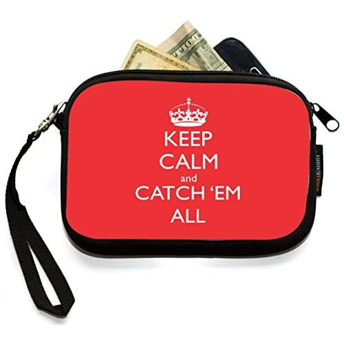 Rikki Knight Keep Calm and Catch 'em All Tropical Pink - Neoprene Clutch Wristlet Coin Purse with Safety Closure - Ideal case for Cosmetics Case, Camera Case, Cell Phones, Passport, etc..