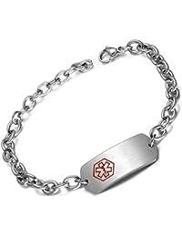 Stainless Steel Medical Alert ID Bracelet for Womens Warfarin Free Engraving