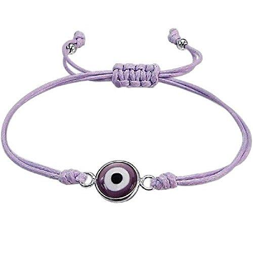 - So Chic Jewels - 925 Sterling Silver Purple Cord Adjustable Bracelet - Evil Eye