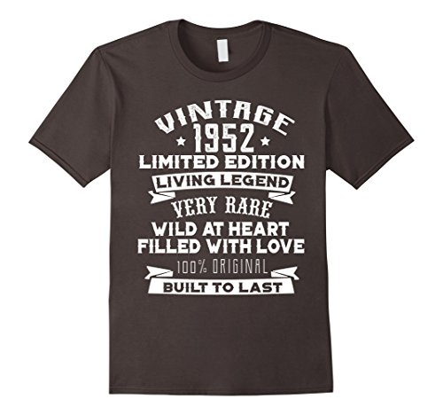 Mens Vintage 1952 Funny 65 Years Old 65th Birthday Gift T-shirt XL Asphalt