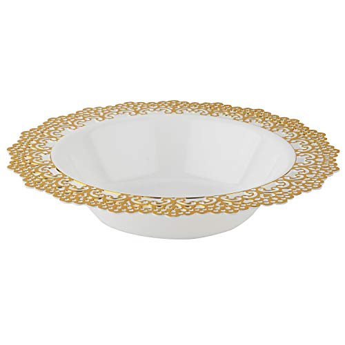 lastic Dinnerware - White Soup/Salad Bowl with Gold Lace Trim - Hard & Reusable, Real China Look Party Plates - 7.5