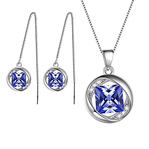 Aurora Tears June Birthstone Jewelry Sets Women 925 Sterling Silver Necklace/Earring Sets Crystal Jun. Birth Stone Jewelry Girls Birthday Gift DS0029U