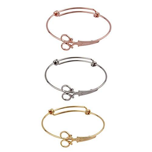 ZUOBAO Steampunk Shears Scissor Bangle Bracelet for Hairdresser (3 colors 1 set)