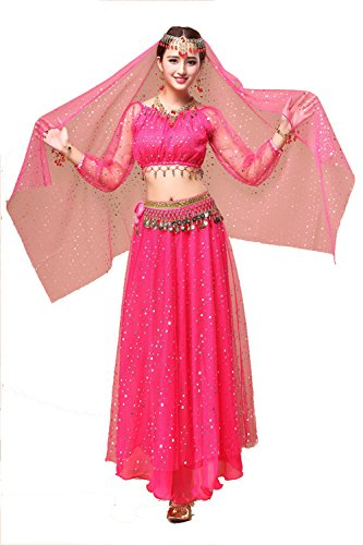 (YYCRAFT Women's Halloween Costume Tops Skirt Set with Accessories Belly Dance Performance Outfit-Style A,Hot Pink)