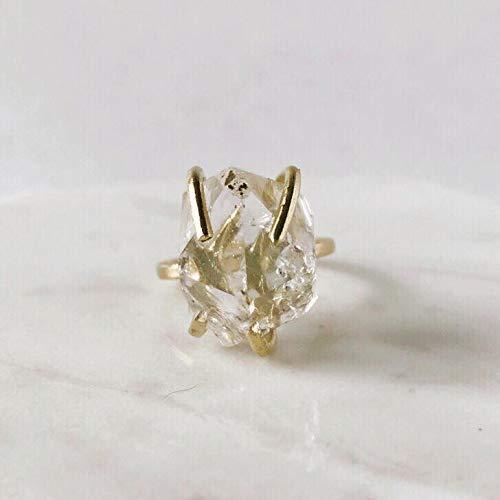 Herkimer Diamond Quartz Ring Krystallos Kipo Jewelry