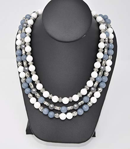 Smoky Malaysian Jade, Ceramic Beads and Freshwater Pearls Necklace, three strands, one of a kind by TreAssure Design