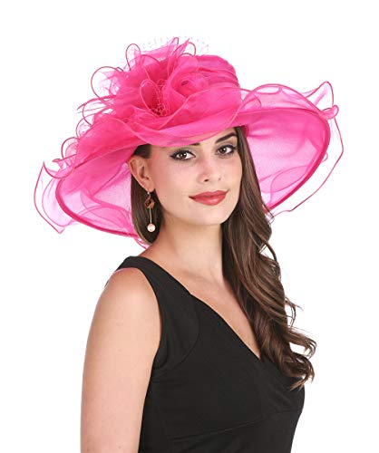 Saferin Women 's Royal Fascinator Organza Mesh Church Kentucky Derby Wedding Party Hat Hot Pink Mesh Feather Free size]()