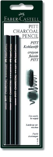 Compressed Charcoal Pencil - Faber-Castell Pitt Natural Willow Charcoal Pencil Set set of 3