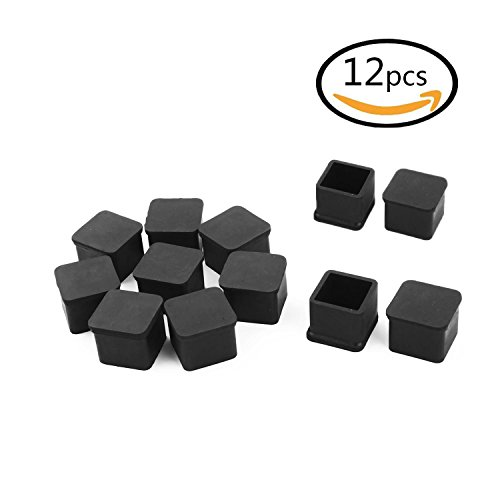 SpeedDa Rubber Square Shaped Furniture Table Chair Leg Foot Cover Cap 1 inch x 1 inch 12pcs Black