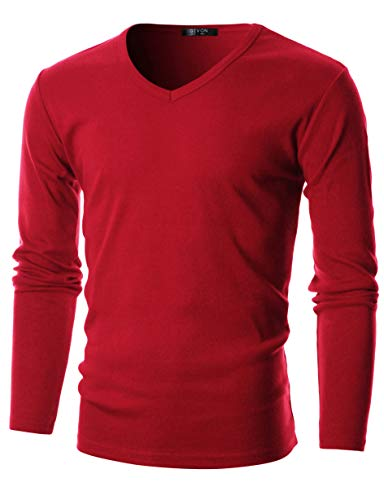 GIVON Mens Slim Fit Flice Cotton Long Sleeve Lightweight Thermal V-Neck T-Shirt/DCP053-RED-XL