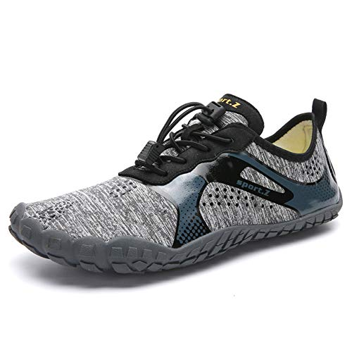 XIDISO Womens MensMinimalist Trail RunnersBarefoot Outdoor CrossTrainingHiking Shoes Grey