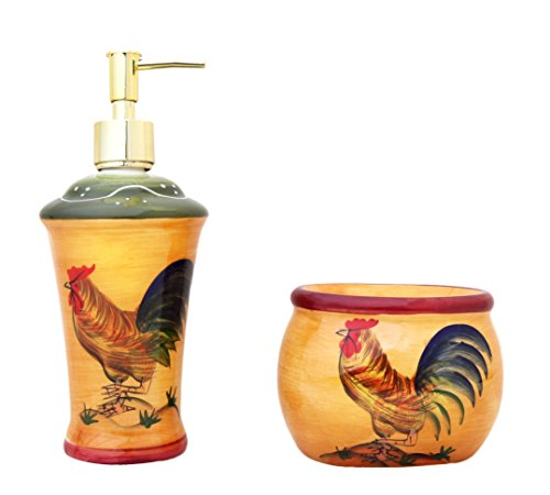 Tuscan Sunshine Country Rooster Hand Painted collection (SOAP DISPENSER AND SPONGE HOLDER) (Garden Tuscan Collection)