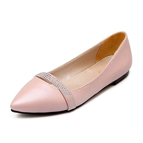 Smilice Women Flats with Rhinestones Slip-on Pointy Toe Pumps Dressy and Comfortable Size 1-13 US