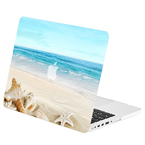 TOP CASE - Retro Series Rubberized Hard Case Cover Compatible with Apple MacBook Pro 13 with Retina Display Model: A1425 / A1502 (Release 2012-2015) - Seashore