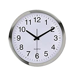 Wall Clock Metal Frame Glass Cover Non-Ticking Number Quartz Wall Clock 12inch Modern Quartz Design Decorative Indoor/Kitchen Silver