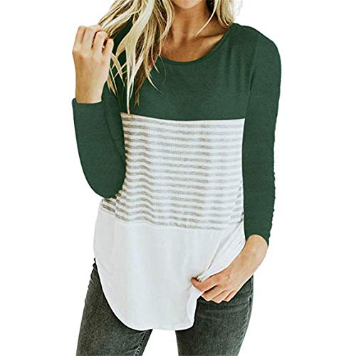 Triple Bellelove Loose Vert Longues Color Dames Patchwork T Tops Manches Casual Femmes Blouse Shirt Automne Block Stripe Blouse O Stripe Neck gWT8g1S