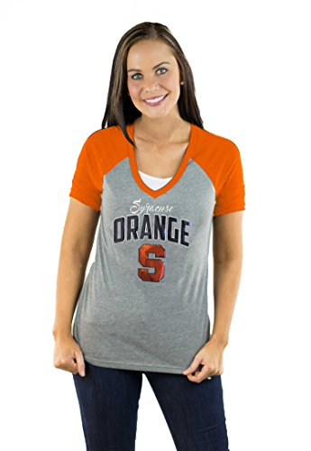 (Gameday Couture NCAA Syracuse Womens Short Sleeve V Neck Raglan, Medium, Orange)