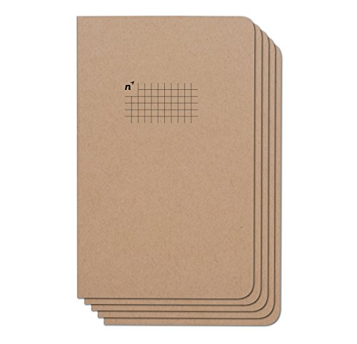 Northbooks Notebook / Journal (5 Pack), 96 Square Grid Pages, Acid Free Sheets, 5x8   Made in USA