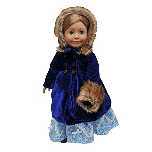 The Queen's Treasures 18 Inch Doll Clothes Outfit, Blue Velvet 1800's Style Winter Fur Trimmed Coat, Hat, & Faux Fur Muff Fits American Girl Doll Clothing & Accessories
