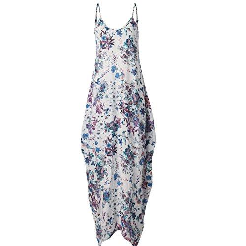 vovotrade Mujeres Nuevo caliente sin mangas V cuello de impresión de flores Maxi vestido largo XXL