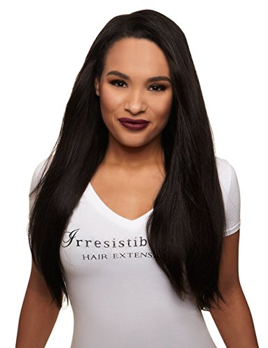 IRRESISTIBLE ME 1 piece Clip in Hair Extensions Natural Black (Color #1b) - 100% Human Remy (Remi) Hair clip ins – Straight 1 Weft Set Clips - Signature Quad Weft - 22 Inches 80 grams (quad-1b-22-80)