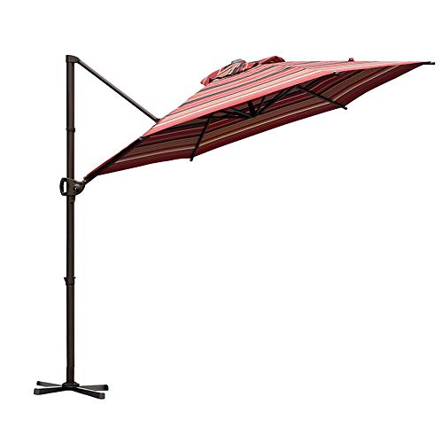Abba Patio Offset Cantilever 9-Feet Outdoor Patio Hanging Umbrella with Cross Base, Red Stripe