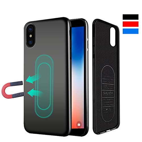 Case for iPhone Xs Max,Ultra Thin Magnetic Case for Magnet Car Phone Holder with Invisible Built-in Metal Plate,Soft TPU Shockproof Anti-Scratch Full Protective Cover for iPhone Xs Max 6.5[Black]